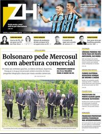 Capa do jornal Zero Hora 06/12/2019