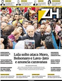 Capa do jornal Zero Hora 09/11/2019