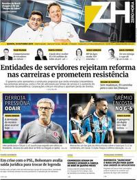Capa do jornal Zero Hora 10/10/2019