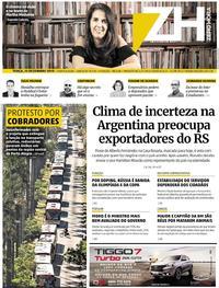 Capa do jornal Zero Hora 10/12/2019