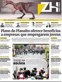 Capa do jornal Zero Hora 12/11/2019