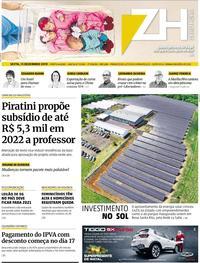 Capa do jornal Zero Hora 13/12/2019