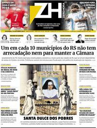 Capa do jornal Zero Hora 14/10/2019