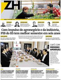 Capa do jornal Zero Hora 15/10/2019