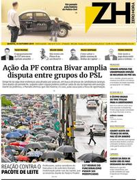 Capa do jornal Zero Hora 16/10/2019