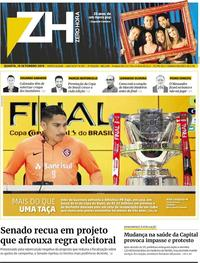 Capa do jornal Zero Hora 18/09/2019