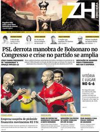 Capa do jornal Zero Hora 18/10/2019