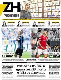 Capa do jornal Zero Hora 18/11/2019