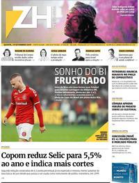 Capa do jornal Zero Hora 19/09/2019