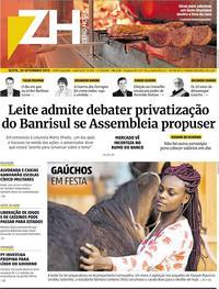 Capa do jornal Zero Hora 20/09/2019