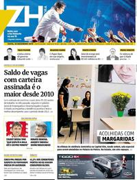 Capa do jornal Zero Hora 20/12/2019