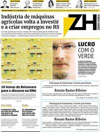 Capa do jornal Zero Hora 21/09/2019