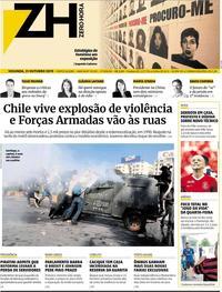Capa do jornal Zero Hora 21/10/2019