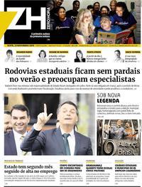 Capa do jornal Zero Hora 22/11/2019