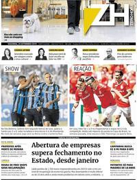 Capa do jornal Zero Hora 23/09/2019