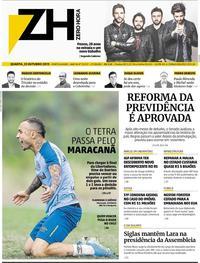 Capa do jornal Zero Hora 23/10/2019