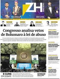 Capa do jornal Zero Hora 24/09/2019