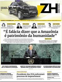Capa do jornal Zero Hora 25/09/2019