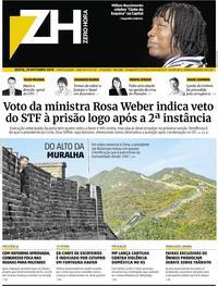 Capa do jornal Zero Hora 25/10/2019