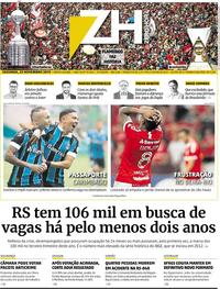 Capa do jornal Zero Hora 25/11/2019
