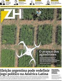 Capa do jornal Zero Hora 26/10/2019