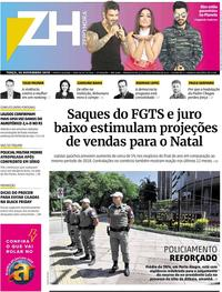 Capa do jornal Zero Hora 26/11/2019