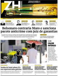 Capa do jornal Zero Hora 26/12/2019