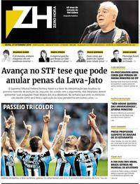 Capa do jornal Zero Hora 27/09/2019