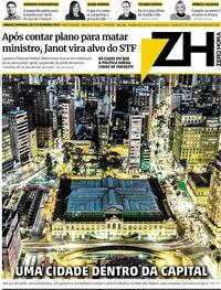 Capa do jornal Zero Hora 28/09/2019