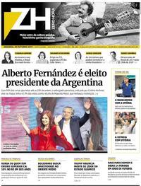 Capa do jornal Zero Hora 28/10/2019