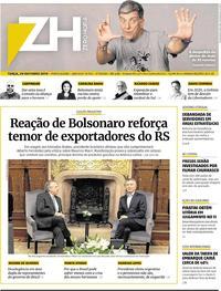 Capa do jornal Zero Hora 29/10/2019