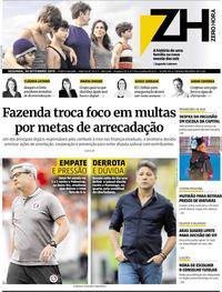 Capa do jornal Zero Hora 30/09/2019