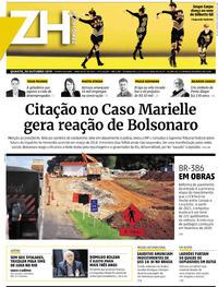 Capa do jornal Zero Hora 30/10/2019