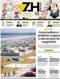Capa do jornal Zero Hora 31/12/2019