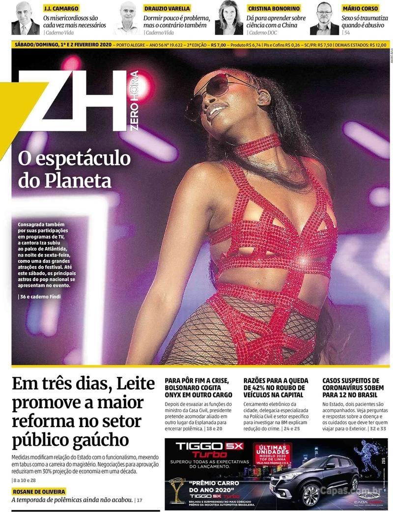 Capa do jornal Zero Hora 01/02/2020
