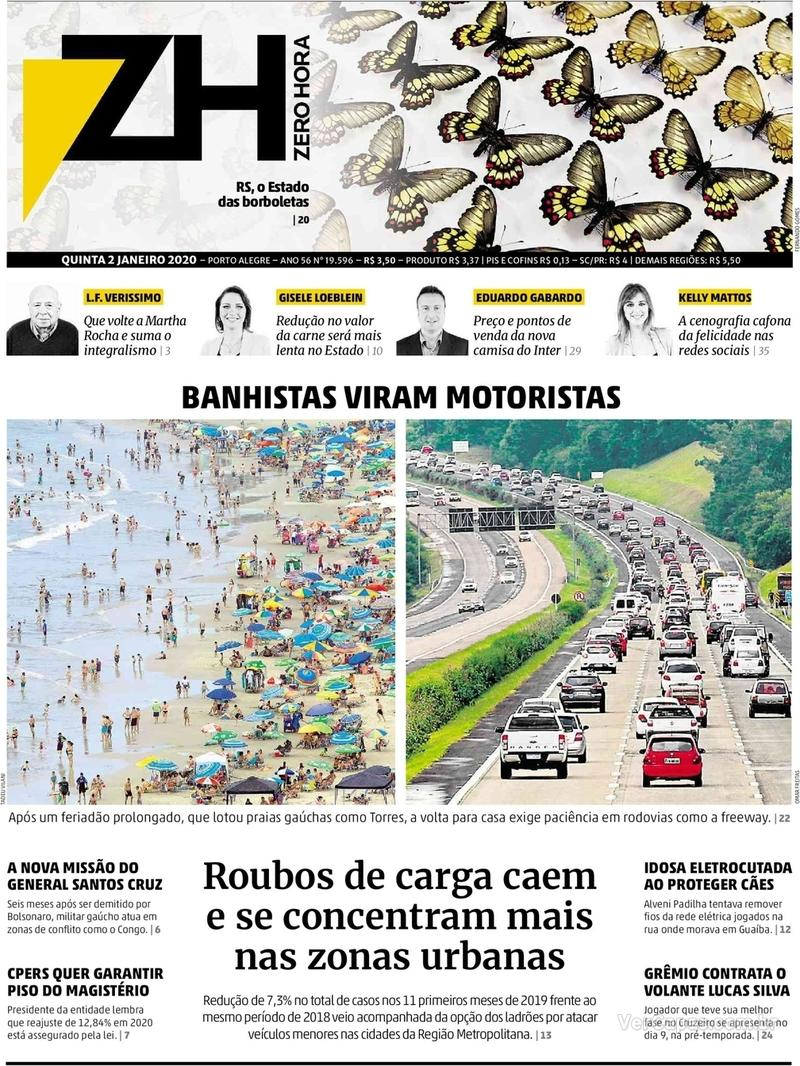 Capa do jornal Zero Hora 02/01/2020