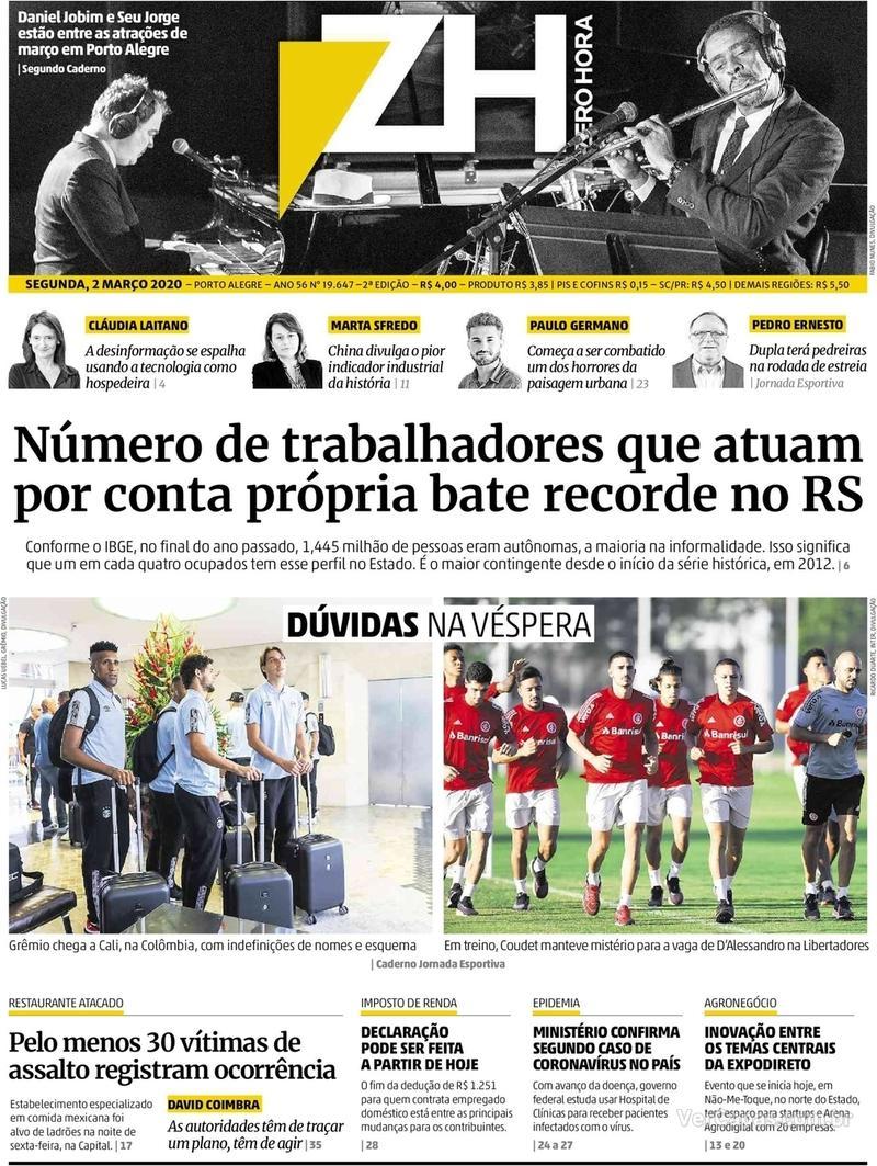 Capa do jornal Zero Hora 02/03/2020