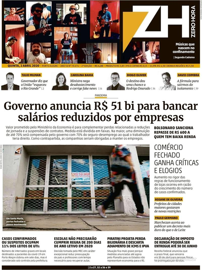 Capa do jornal Zero Hora 02/04/2020