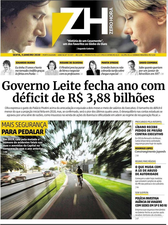 Capa do jornal Zero Hora 03/01/2020