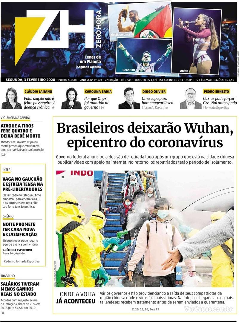 Capa do jornal Zero Hora 03/02/2020