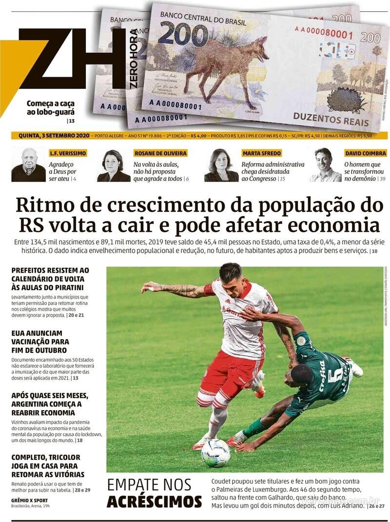 Capa do jornal Zero Hora 03/09/2020