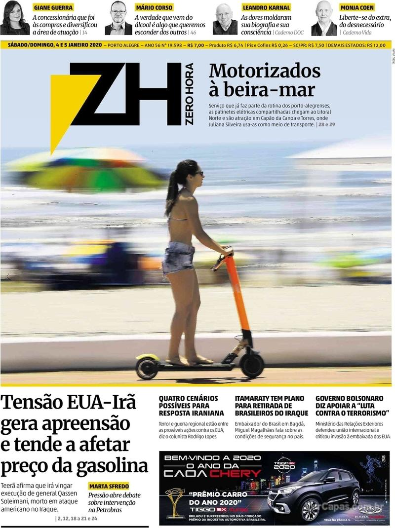 Capa do jornal Zero Hora 04/01/2020