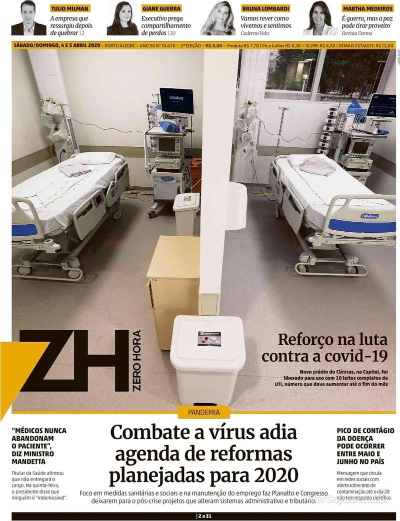 Capa do jornal Zero Hora 04/04/2020