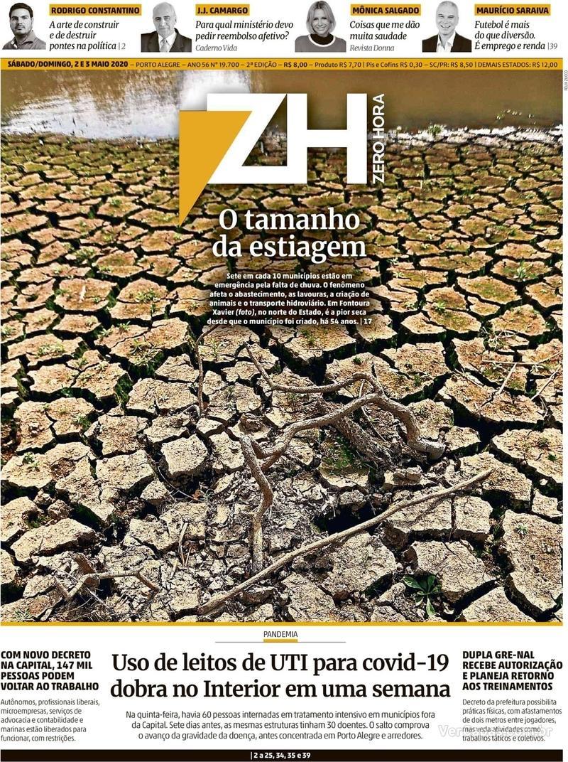 Capa do jornal Zero Hora 04/05/2020