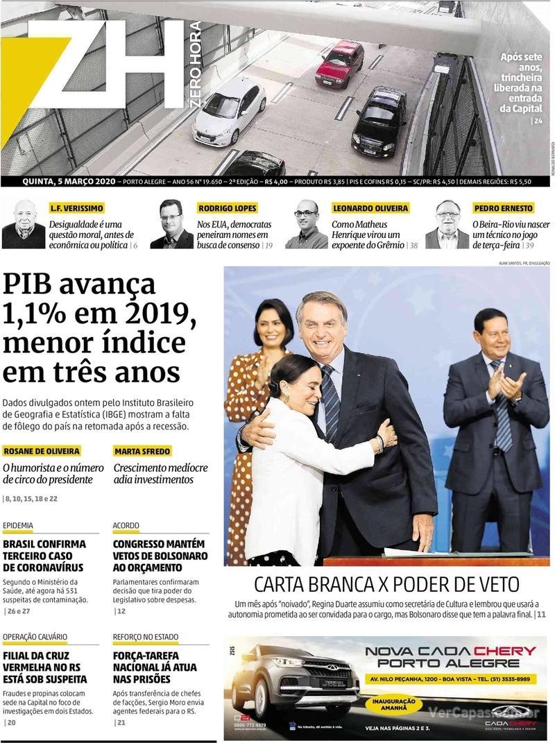 Capa do jornal Zero Hora 05/03/2020
