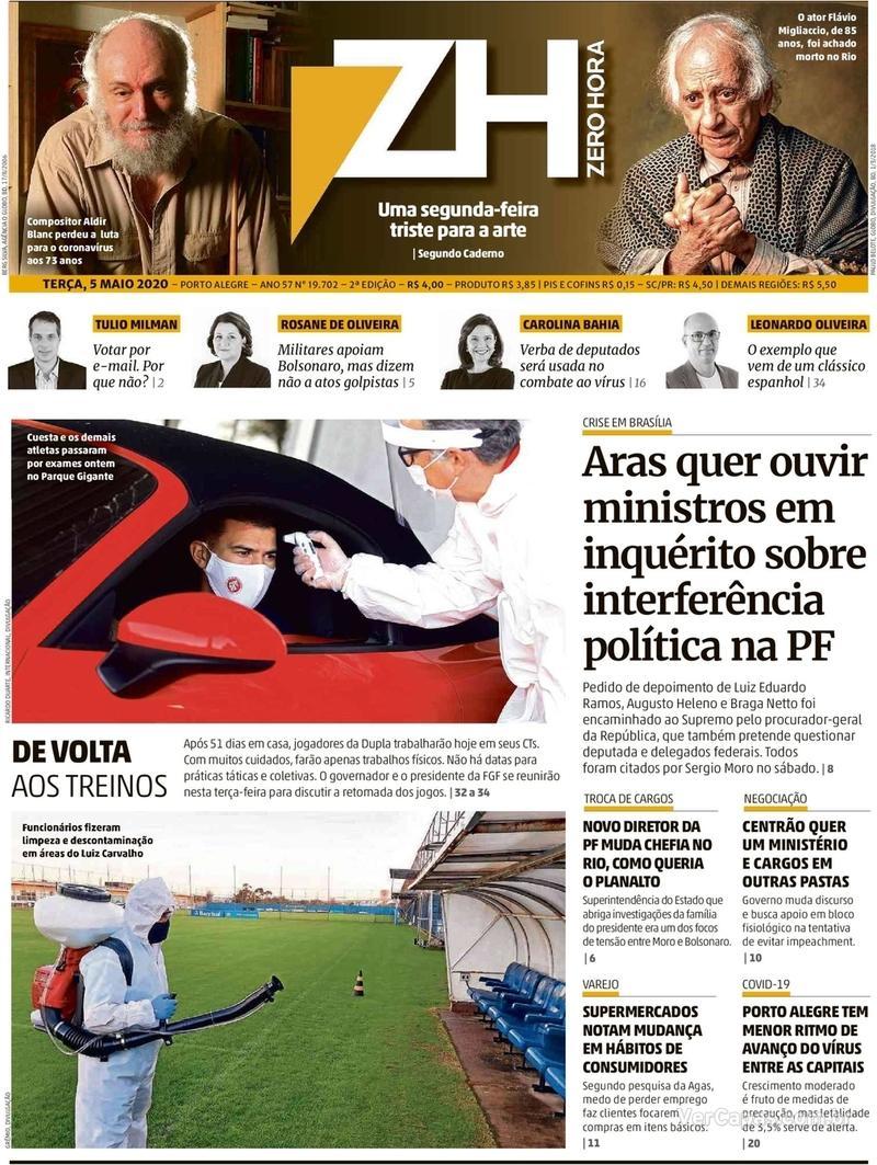 Capa do jornal Zero Hora 05/05/2020