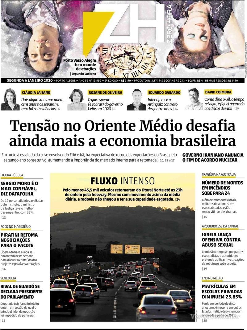 Capa do jornal Zero Hora 06/01/2020