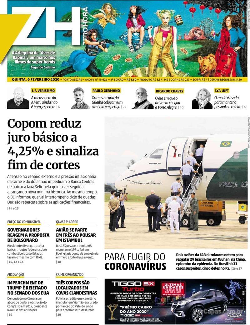 Capa do jornal Zero Hora 06/02/2020