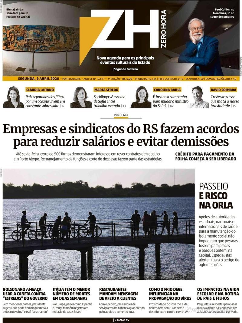 Capa do jornal Zero Hora 06/04/2020