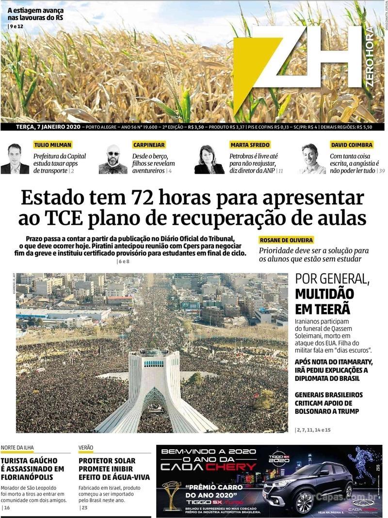 Capa do jornal Zero Hora 07/01/2020